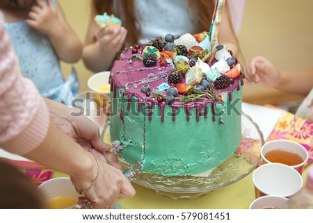 Birthday Cake Cut With A Knife Into Pieces Bright Interiors