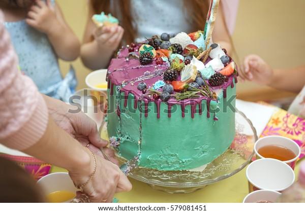 Fantastic Birthday Cake Cut Knife Into Pieces Stock Photo Edit Now 579081451 Funny Birthday Cards Online Benoljebrpdamsfinfo