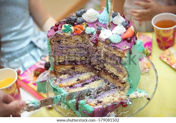Amazing Birthday Cake Cut Knife Into Pieces Stock Photo Edit Now 579081502 Funny Birthday Cards Online Benoljebrpdamsfinfo