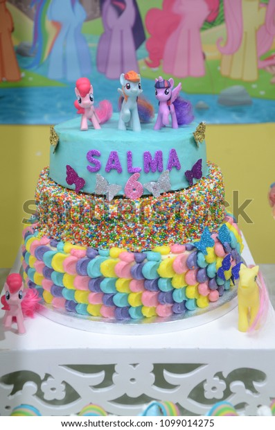 Fantastic Birthday Cake Decorated Characters My Little Stock Photo Edit Now Funny Birthday Cards Online Hetedamsfinfo