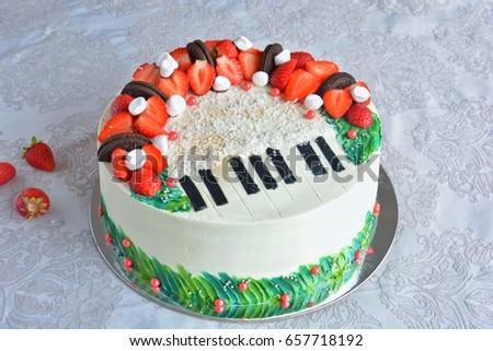 Birthday Cake Decorated Fondant Rounded Symbolically Stockfoto