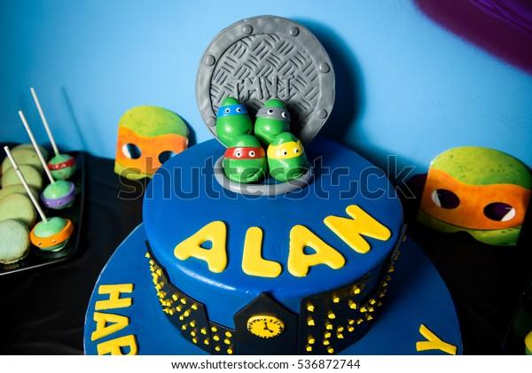 Marvelous Birthday Cake Decorated Heads Teenage Mutant Stock Photo Edit Now Funny Birthday Cards Online Alyptdamsfinfo