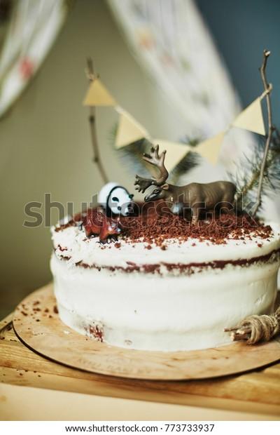 Phenomenal Birthday Cake Deer Panda Stock Photo Edit Now 773733937 Birthday Cards Printable Inklcafe Filternl