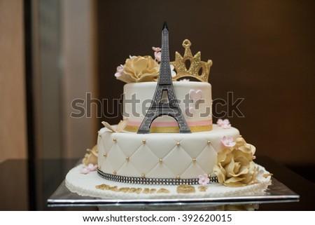 Birthday Cake Eiffel Tower Stock Photo (Edit Now) 392620015 ...