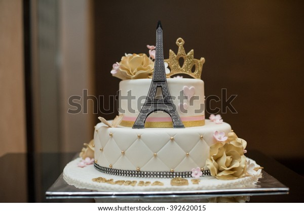 Peachy Birthday Cake Eiffel Tower Stock Photo Edit Now 392620015 Funny Birthday Cards Online Aeocydamsfinfo