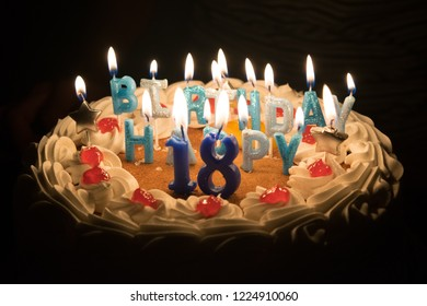 Birthday cake for eighteen with black background