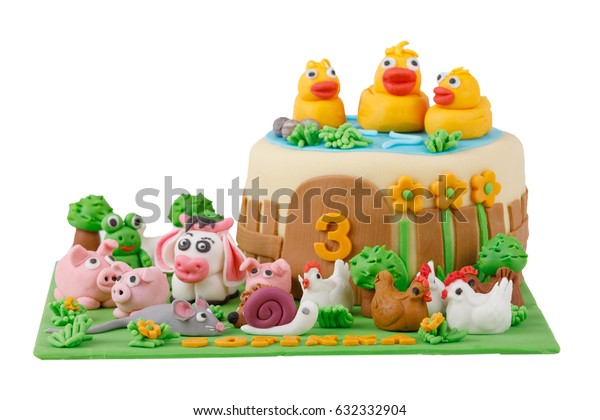 Excellent Birthday Cake Farm Marzipan Animals Number Stock Photo Edit Now Birthday Cards Printable Opercafe Filternl