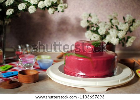 Birthday Cake Festive On A Marble Table Stand