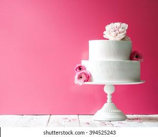 Birthday cake with flowers. Horizontal