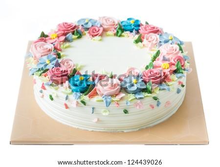 Birthday Cake Flowers On White Stock Photo Edit Now 124439026