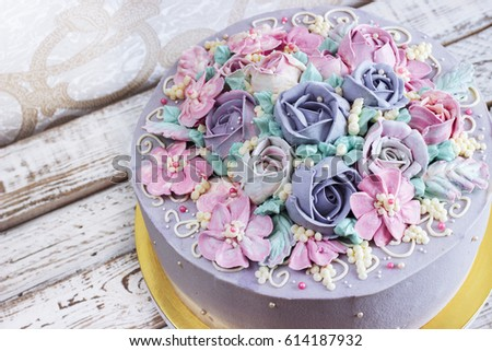 Birthday Cake With Flowers Rose On White Background