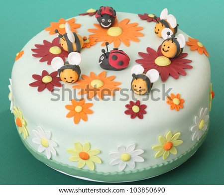 Birthday Cake With Flowers Sugar Bees And Ladybugs