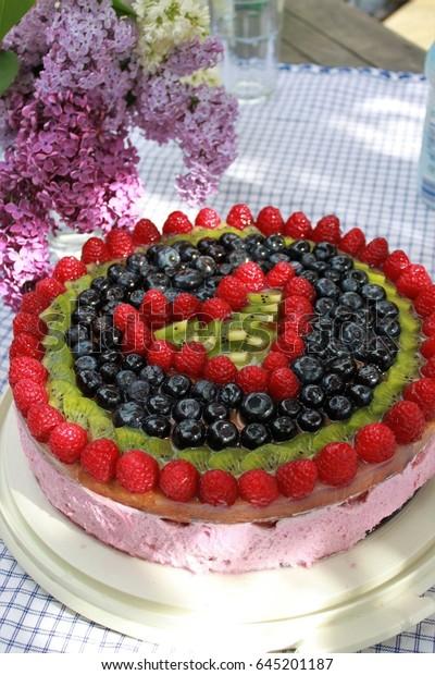 Astonishing Birthday Cake Fruit Decoration Front Lilac Stock Photo Edit Now Funny Birthday Cards Online Overcheapnameinfo