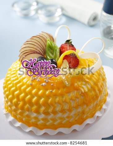 Birthday Cake With Fruits And Chocolate Decoration