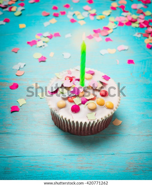 Fantastic Birthday Cake Green Candle Pink Confetti Stock Photo Edit Now Birthday Cards Printable Inklcafe Filternl