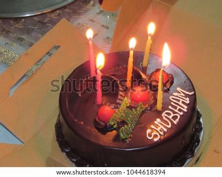 Photo De Stock De Birthday Cake Having Name Shubham Modifier