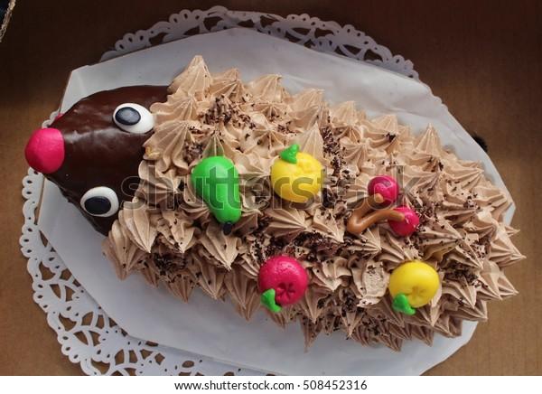 Astonishing Birthday Cake Hedgehog Birthday Cake Hedgehog Stock Photo Edit Funny Birthday Cards Online Inifodamsfinfo