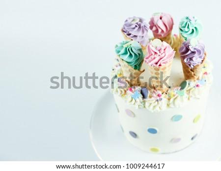 Birthday Cake With Ice Cream Cones Decoration