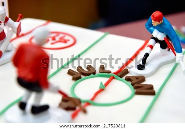Swell Birthday Cake Ice Hockey Players Stock Photo Edit Now 217520611 Personalised Birthday Cards Petedlily Jamesorg