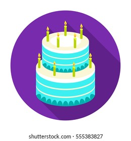 Birthday cake icon in flat style isolated on white background. Cakes symbol stock rastr illustration.