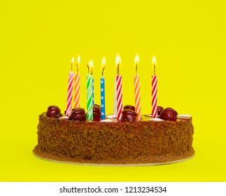 Birthday cake isolated on the white background