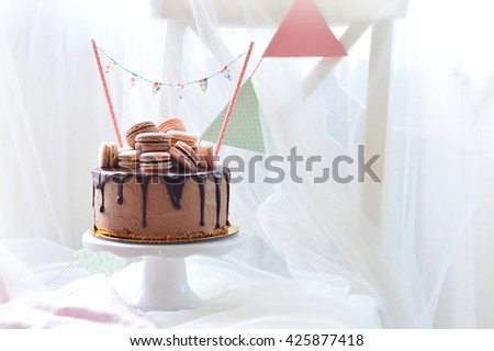 Birthday Cake With Macarons On The Top
