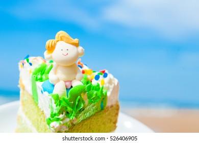 Birthday cake on the beach