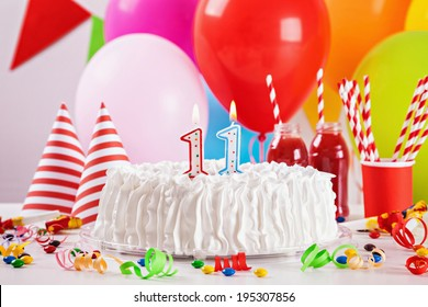 Birthday Cake On Colorful Balloon Background With Other Birthday Decoration. Focus is on cake.