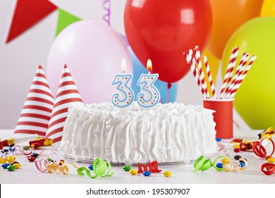 Birthday Cake On Colorful Balloon Background With Other Decoration Focus Is