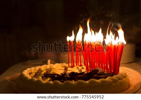Birthday Cake On A Prepared Table Top