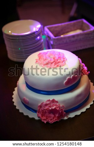 Birthday Cake On The Table Close Up Wedding A White