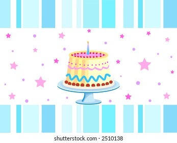 Birthday cake with one glowing candle