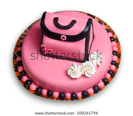 Birthday Cake With Pink Frostingdecorated A Vintage Woman Handbag And Flowers Including Three