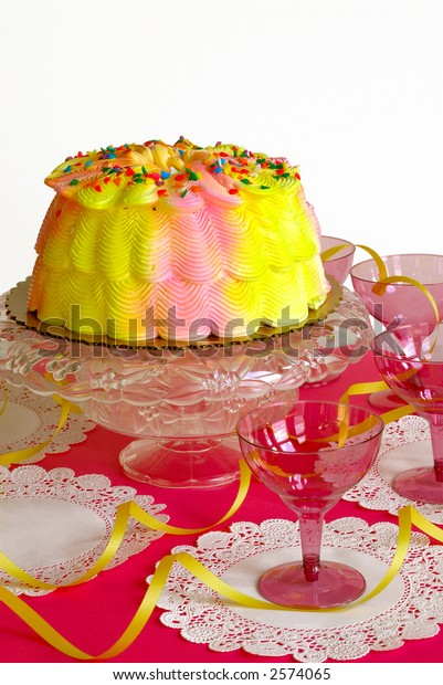 Groovy Birthday Cake Pink Yellow Iced Birthday Stock Photo Edit Now 2574065 Funny Birthday Cards Online Ioscodamsfinfo