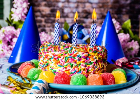 Birthday Cake Rainbow Sprinkles On Blue Stock Photo Edit Now