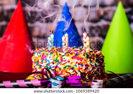 Birthday Cake Rainbow Sprinkles On Red Stock Photo Edit Now