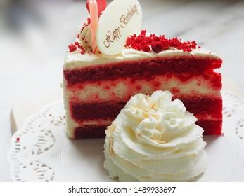 Birthday Cake Red Velvet with Whipped Cream on white paper