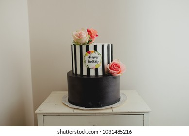 Birthday cake with roses and stripes