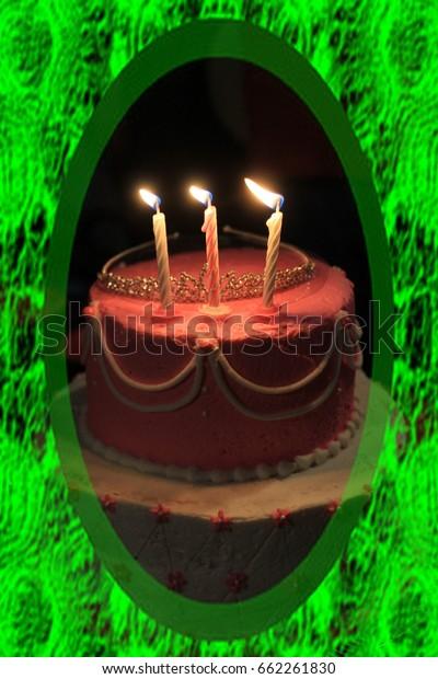 Pleasant Birthday Cake Shot Closeup Flaming Candlestiara Stock Photo Edit Birthday Cards Printable Trancafe Filternl