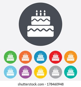 Birthday cake sign icon. Cake with burning candles symbol. Round colourful 11 buttons.