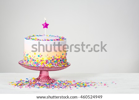 Birthday Cake With Star Candle And Colorful Sprinkles