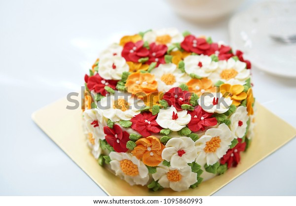Admirable Birthday Cake Summer Flowers On White Stock Photo Edit Now Personalised Birthday Cards Cominlily Jamesorg