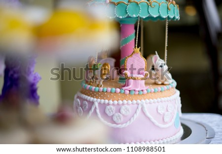 Birthday Cake And Sweets On Decorated Table To Party Time Celebration For Two Year Old Girl