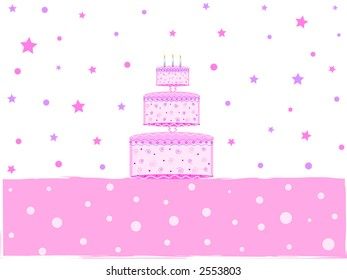 Birthday cake with three glowing candles