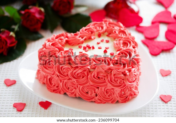 Remarkable Birthday Cake Valentines Day Roses Stock Photo Edit Now 236099704 Funny Birthday Cards Online Elaedamsfinfo