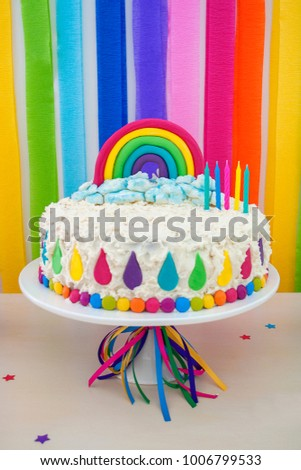 Birthday Cake White Frosting Fondant Rainbow Stock Photo Edit Now