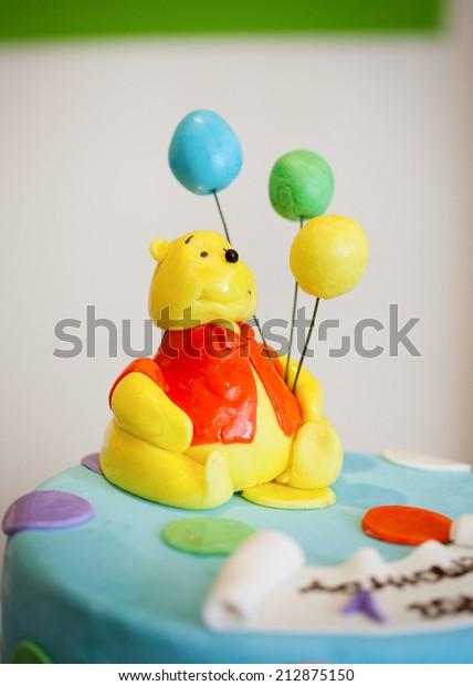 Outstanding Birthday Cake Winnie Pooh Stock Photo Edit Now 212875150 Funny Birthday Cards Online Alyptdamsfinfo