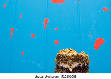 Birthday cake without a candle on a blue background
