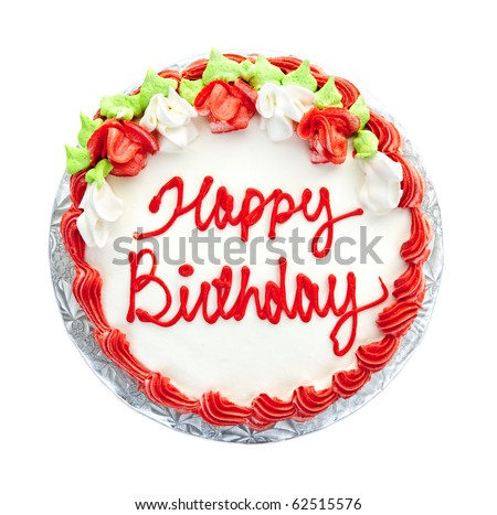 Birthday Cake With Writing From Above Isolated On White