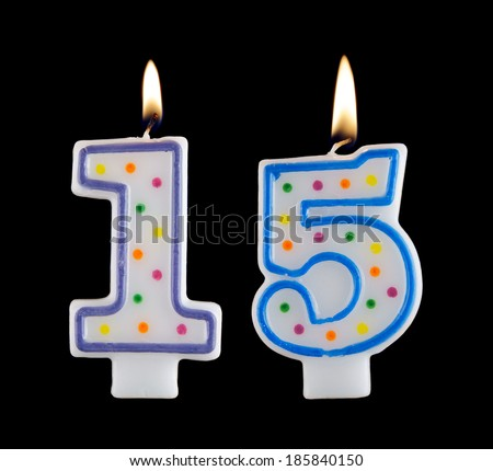 Birthday Candle On Black Background Number 15